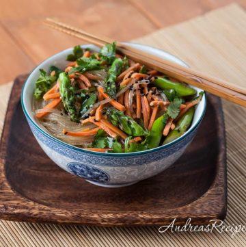 Asparagus Noodle Salad with Sesame Vinaigrette - Andrea Meyers