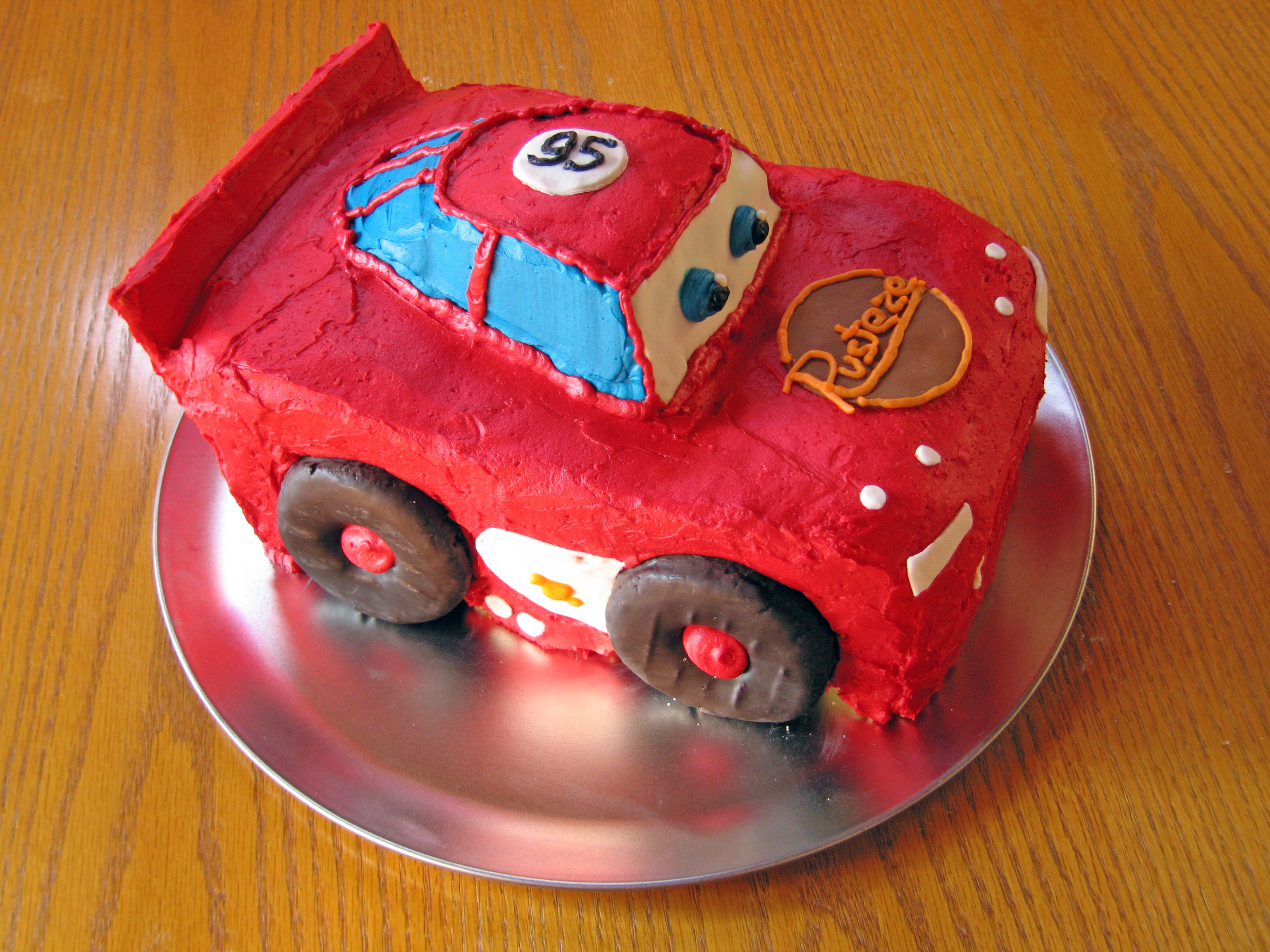 Peachy Lightning Mcqueen Birthday Cake Andrea Meyers Personalised Birthday Cards Cominlily Jamesorg