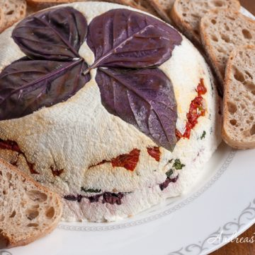 Cheese Torta with Basil, Olives, and Sundried Tomatoes - Andrea Meyers